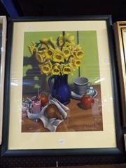 Sale 8437 - Lot 2067 - R. Crombie (XX) - Still Life - Fruit & Flowers 57 x 43cm