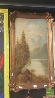 Sale 8446 - Lot 2072 - Early C20th School - Mountain Scene 60 x 30.5cm
