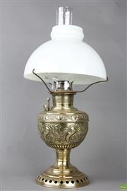Sale 8560 - Lot 31 - Brass Kerosene Lamp with Shade