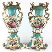 Sale 8607R - Lot 16 - Pair of European Handpainted Porcelain Vases with Gilt Details, Depicting Flowers (Both Restored) (H: 42cm)