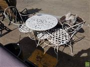 Sale 8601 - Lot 1235 - Two Scrolled Wrought Iron Outdoor Chairs & Alloy Table (3)
