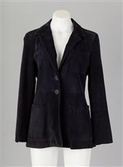 Sale 8661F - Lot 5 - A DKNY two tone navy suede kent blazer, size 8