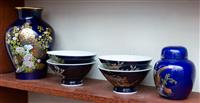 Sale 8735 - Lot 40 - A small group of Japanese blue ground Satsuma including ginger jar, baluster vase and four bowls