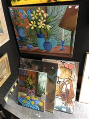 Sale 8833 - Lot 2064 - Group of (4) Contemporary Still Life Paintings,  acrylic on canvas, various sizes