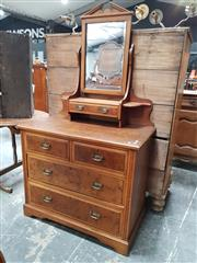 Sale 8868 - Lot 1587 - Late Victorian Oak & Pollard Oak Veneered Dressing Chest, with a trinket, two short and two long drawers
