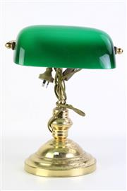 Sale 8894 - Lot 26 - Bakers Lamp with Glass Shade (H33cm)