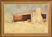 Sale 9019 - Lot 2067 - Gordon Syron (1942 - ) - The Stable, 1972 34 x 52 cm (frame: 44 x 63 x 2 cm)
