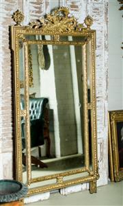 Sale 9087H - Lot 37 - Antique French Louis XVI style gilt over mantle mirror (H 180cm x W 91cm)