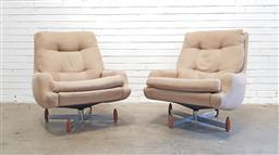 Sale 9151 - Lot 1091 - Pair of fabric Fierena swivel chairs by Fred Lowen (h:88 x w:80 x d:60cm)