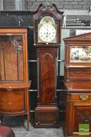Sale 8317 - Lot 1029 - Regency Mahogany Longcase Clock with painted dial signed Colin Salmon, Dundee; with broken swan-neck pediment and Gothic arch waist...