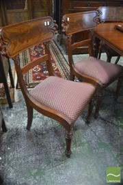 Sale 8335 - Lot 1051 - Set of Six William IV Mahogany Chairs, with large carved bar backs, drop-in seats & faceted legs