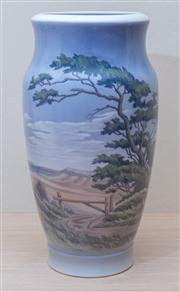 Sale 8430 - Lot 48 - A large Royal Copenhagen vase with coastal scene