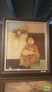 Sale 8437 - Lot 2055 - Joyce Roybal (1955 - ) - Untitled (Allegorical Figures) 59.5 x 49cm