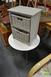 Sale 8480 - Lot 1119 - Modern Round Top Side Table & Two Wicker Drawer Bedside (2)