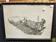 Sale 8544 - Lot 2050 - Framed Oriental Rubbing Fisherman