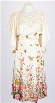Sale 8640F - Lot 4 - A Fleur Wood butterfly sleeve silk dress, size 2.