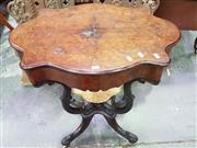 Sale 8653 - Lot 1076 - Victorian Inlaid Burr Walnut Sewing Table, with serpentine shaped hinged top, revealing a fitted fabric lined basket (some dividers...