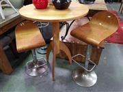 Sale 8669 - Lot 1031 - Pair of Timber Seat Gaslift Bar Stools & Round Top Bar Table (3)