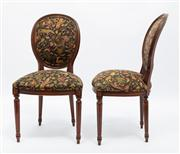 Sale 8660A - Lot 37 - A set of 10 cameo back chairs C: 1910 The pad backs and seats upholstered in exotic animal pattern tapestry, the shaped seats raised...
