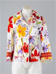 Sale 8685F - Lot 93 - A Dolce & Gabbana printed cotton blend jacket, with fringed hems and embroidered cuffs, size 40