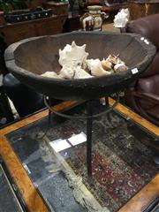 Sale 8795 - Lot 1022 - Rustic Carved Timber Bowl on Stand with Shells