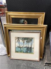 Sale 8888 - Lot 2060 - 3 Artworks & Gilt Frame