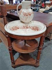 Sale 8939 - Lot 1050 - Late 19th Century Walnut Washstand, with brown floral transfer printed ceramic bowl with receptacles & plumbing, on turned support...