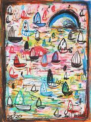 Sale 9009A - Lot 5077 - Yosi Messiah - Colourful Harbour 63 x 50 cm (frame: 97 x 84 x 2 cm)