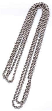 Sale 9037 - Lot 392 - AN 18CT WHITE GOLD LONG ROPE TWIST CHAIN; 2.68mm wide with no clasp, length 100cm, wt. 28.93g.