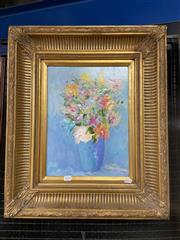 Sale 9041 - Lot 2010 - Stephen Tandori Spring Flowers in Blue Vase oil on board, 63 x 53cm (frame) signed lower left