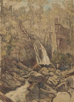 Sale 9096 - Lot 539 - John Skinner Prout (1805 - 1876) Figures by a Waterfall, 1845 lithograph (AF - repaired tears to lower right, lower centre, centre a...