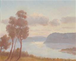 Sale 9125 - Lot 590 - Erik Langker (1898 - 1982) Morning at Middle Harbour oil on board 29 x 36.5 cm (frame: 46 x 54 x 3 cm) signed lower right