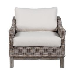 Sale 9250T - Lot 83 - An armchair featuring solid timber base, kubu rattan, and linen cushions. Height 64cm x Width 75cm x Depth 84cm