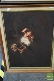 Sale 8518 - Lot 2050 - H. Cheang (1910 - ), Man with Pipe, oil on canvas on board, 59 x 44cm, signed lower right