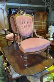 Sale 8520 - Lot 1052 - Pair of Victorian Walnut Gentlemens and Ladys Chairs with Burr Panels and Buttoned Salmon Upholstery