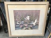Sale 8789 - Lot 2112 - Indonesian School - Cranes and Waterlilies, gouache on cotton, 90 x 96 (frame size)