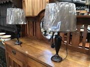 Sale 8868 - Lot 1542 - Pair of Metal Ridged Pattern Table Lamps (5611)