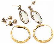 Sale 8937 - Lot 301 - THREE PAIRS OF GOLD EARRINGS; 18ct machine engraved hoops, diam. 24mm, wt. 3.2g, pair 9ct beaded studs, 0.80g other in gilt metal se...