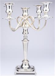 Sale 8960J - Lot 56 - An impressive antique silver-plate 5 light candelabra C: 1900. The central candle stick supporting 4 reeded wrythen arms, each with ...