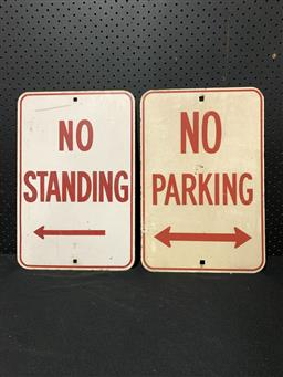 Sale 9117 - Lot 1012 - Early pair of metal PARKING signs (h:45 x w:30 each)