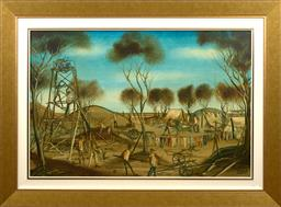 Sale 9150J - Lot 92 - KEVIN CHARLES (PRO) HART (1928 - 2006) Bush Workers oil on board 60 x 90 cm signed lower right
