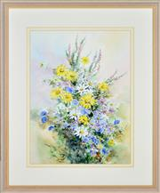 Sale 8349A - Lot 38 - Essie Nangle (1915 - 2006) - Daisies and Heather 40 x 30cm