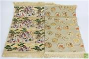 Sale 8490 - Lot 265 - Pair of Japanese Place Mats with Silk Blends Depicting Village Scenes