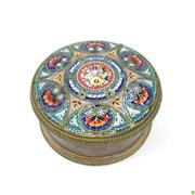 Sale 8562R - Lot 72 - Micro Mosaic Lidded Bronze Jewellery Box (D: 6.5cm)
