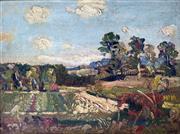 Sale 8655A - Lot 5026 - Harald Vike (1906 - 1987) - Fields at Eltham, Victoria c1950 30 x 40cm
