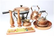 Sale 8698 - Lot 44 - Copper Fondue Set With Other Copper Wares incl Teapot