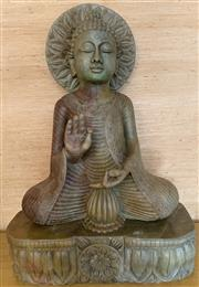 Sale 8510A - Lot 26 - A carved stone meditating Buddha in typical pose with a mandala behind head, Height 100cm
