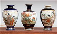 Sale 8735 - Lot 43 - Three Satsuma vases of diminutive size, H x 12cm some restorations.