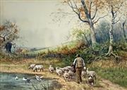Sale 8752A - Lot 5022 - Henry Murray - Hearding the Flock 25 x 35cm