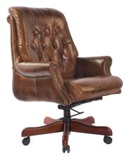 Sale 8957T - Lot 70 - Hand Aged leather upholstered, Chairmans  office chair with castors and timber dressed base W70 x D83 x H110